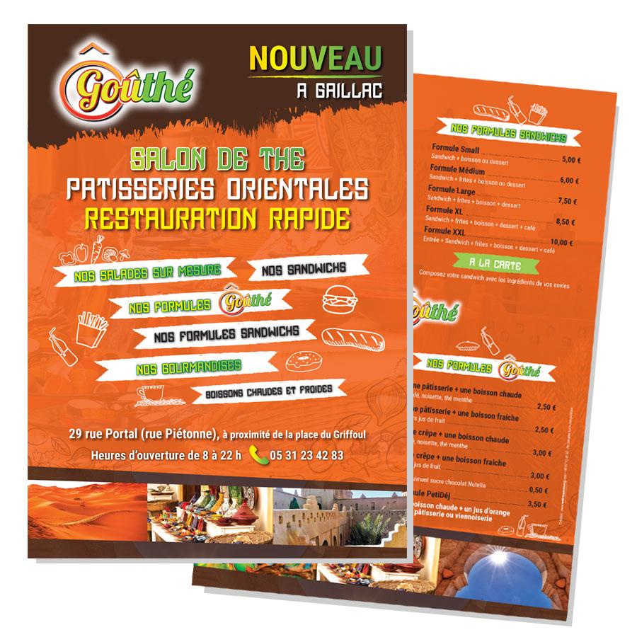 Un flyer pas cher de restaurant par un graphiste de Toulouse